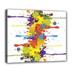 Crazy Multicolored Double Running Splashes Deluxe Canvas 24  x 20