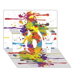 Crazy Multicolored Double Running Splashes Boy 3d Greeting Card (7x5) by EDDArt