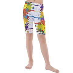 Crazy Multicolored Double Running Splashes Kids  Mid Length Swim Shorts by EDDArt