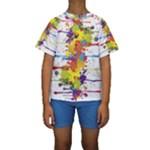 Crazy Multicolored Double Running Splashes Kids  Short Sleeve Swimwear