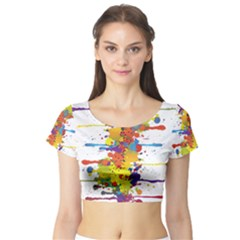 Crazy Multicolored Double Running Splashes Short Sleeve Crop Top (tight Fit) by EDDArt