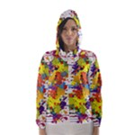 Crazy Multicolored Double Running Splashes Hooded Wind Breaker (Women)