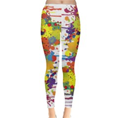 Crazy Multicolored Double Running Splashes Winter Leggings  by EDDArt