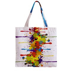 Crazy Multicolored Double Running Splashes Zipper Grocery Tote Bag by EDDArt