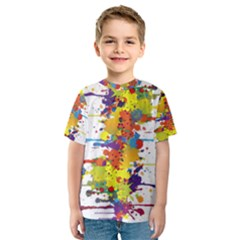 Crazy Multicolored Double Running Splashes Kids  Sport Mesh Tee by EDDArt