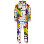 Crazy Multicolored Double Running Splashes Hooded Jumpsuit (Men)