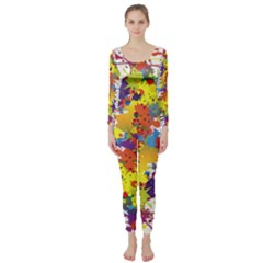 Crazy Multicolored Double Running Splashes Long Sleeve Catsuit by EDDArt