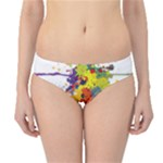 Crazy Multicolored Double Running Splashes Hipster Bikini Bottoms