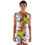 Crazy Multicolored Double Running Splashes Wrap Front Bodycon Dress