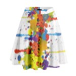 Crazy Multicolored Double Running Splashes High Waist Skirt