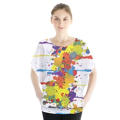 Crazy Multicolored Double Running Splashes Blouse by EDDArt