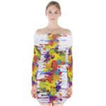 Crazy Multicolored Double Running Splashes Long Sleeve Off Shoulder Dress