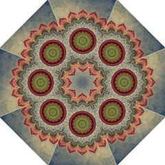 Folk Art Lotus Mandala Dirty Blue Red Straight Umbrellas by EDDArt