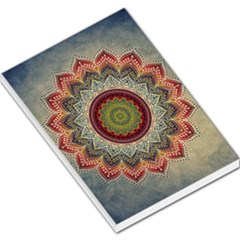Folk Art Lotus Mandala Dirty Blue Red Large Memo Pads by EDDArt