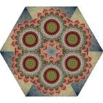 Folk Art Lotus Mandala Dirty Blue Red Mini Folding Umbrellas