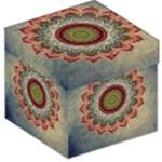 Folk Art Lotus Mandala Dirty Blue Red Storage Stool 12