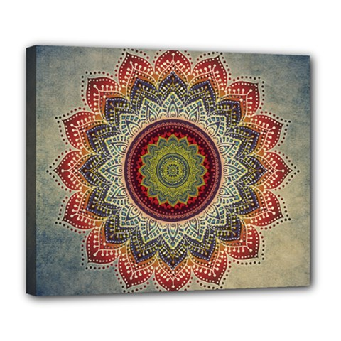 Folk Art Lotus Mandala Dirty Blue Red Deluxe Canvas 24  X 20   by EDDArt