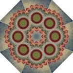 Folk Art Lotus Mandala Dirty Blue Red Hook Handle Umbrellas (Medium)