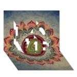 Folk Art Lotus Mandala Dirty Blue Red LOVE 3D Greeting Card (7x5)