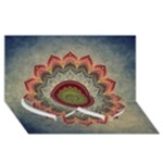 Folk Art Lotus Mandala Dirty Blue Red Twin Heart Bottom 3D Greeting Card (8x4)