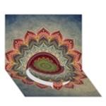 Folk Art Lotus Mandala Dirty Blue Red Circle Bottom 3D Greeting Card (7x5)