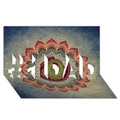 Folk Art Lotus Mandala Dirty Blue Red #1 Dad 3d Greeting Card (8x4) by EDDArt