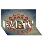 Folk Art Lotus Mandala Dirty Blue Red PARTY 3D Greeting Card (8x4)