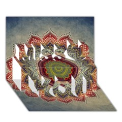 Folk Art Lotus Mandala Dirty Blue Red Miss You 3d Greeting Card (7x5) by EDDArt