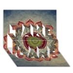 Folk Art Lotus Mandala Dirty Blue Red TAKE CARE 3D Greeting Card (7x5)