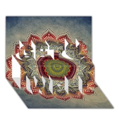 Folk Art Lotus Mandala Dirty Blue Red Get Well 3d Greeting Card (7x5) by EDDArt
