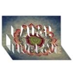 Folk Art Lotus Mandala Dirty Blue Red Laugh Live Love 3D Greeting Card (8x4)