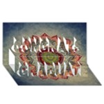 Folk Art Lotus Mandala Dirty Blue Red Congrats Graduate 3D Greeting Card (8x4)