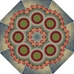 Folk Art Lotus Mandala Dirty Blue Red Hook Handle Umbrellas (Small)