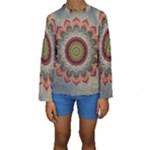 Folk Art Lotus Mandala Dirty Blue Red Kids  Long Sleeve Swimwear