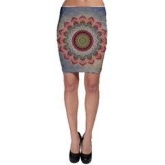 Folk Art Lotus Mandala Dirty Blue Red Bodycon Skirt by EDDArt