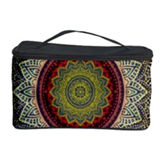 Folk Art Lotus Mandala Dirty Blue Red Cosmetic Storage Case by EDDArt