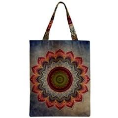 Folk Art Lotus Mandala Dirty Blue Red Zipper Classic Tote Bag by EDDArt