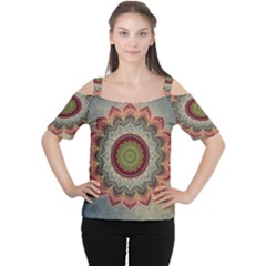 Folk Art Lotus Mandala Dirty Blue Red Women s Cutout Shoulder Tee by EDDArt