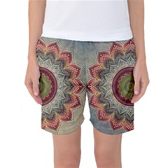 Folk Art Lotus Mandala Dirty Blue Red Women s Basketball Shorts by EDDArt