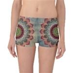 Folk Art Lotus Mandala Dirty Blue Red Boyleg Bikini Bottoms
