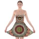Folk Art Lotus Mandala Dirty Blue Red Strapless Bra Top Dress