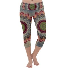 Folk Art Lotus Mandala Dirty Blue Red Capri Yoga Leggings by EDDArt