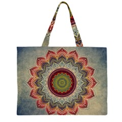 Folk Art Lotus Mandala Dirty Blue Red Zipper Large Tote Bag by EDDArt