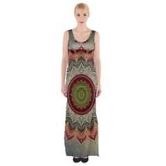 Folk Art Lotus Mandala Dirty Blue Red Maxi Thigh Split Dress by EDDArt