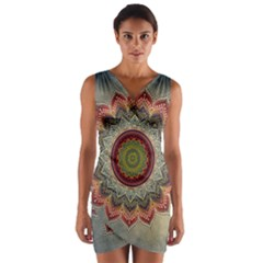 Folk Art Lotus Mandala Dirty Blue Red Wrap Front Bodycon Dress by EDDArt