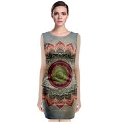 Folk Art Lotus Mandala Dirty Blue Red Classic Sleeveless Midi Dress by EDDArt