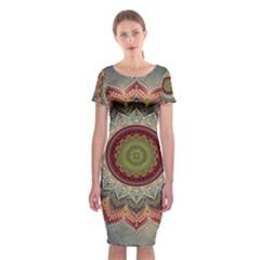 Folk Art Lotus Mandala Dirty Blue Red Classic Short Sleeve Midi Dress by EDDArt