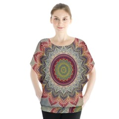 Folk Art Lotus Mandala Dirty Blue Red Blouse by EDDArt