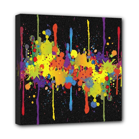 Crazy Multicolored Double Running Splashes Horizon Mini Canvas 8  X 8  by EDDArt