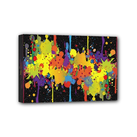 Crazy Multicolored Double Running Splashes Horizon Mini Canvas 6  X 4  by EDDArt